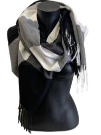Malse, warme sjaal zwart, grijs, wit