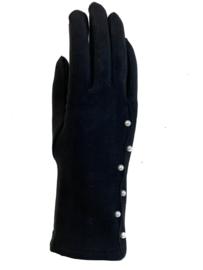 Daim look-a-like gloves zwart parel