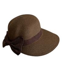 Modieus zomerhoedje bruin met bruine strik