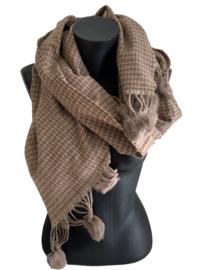 Fashion Sjaal met taupe pomponnetjes