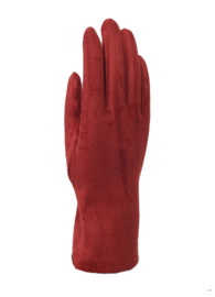 Daim look-a-like gloves red