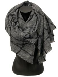 Malse warme sjaal zwart/wit/grijs