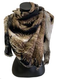 Malse, carré sjaal  in bruin/beige tinten (tipsjaal)