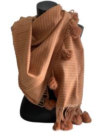 Fashion Sjaal met brick pomponnetjes