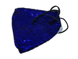 Blauw mondmasker met verstelbare oorbandjes
