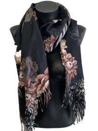 Malse warme sjaal met bloemen, zwart