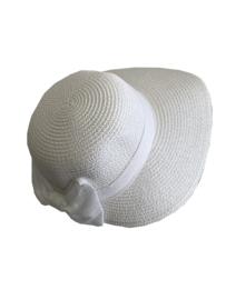 Modieus zomerhoedje wit met witte strik