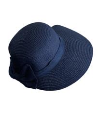 Modieus zomerhoedje blauw met blauwe strik
