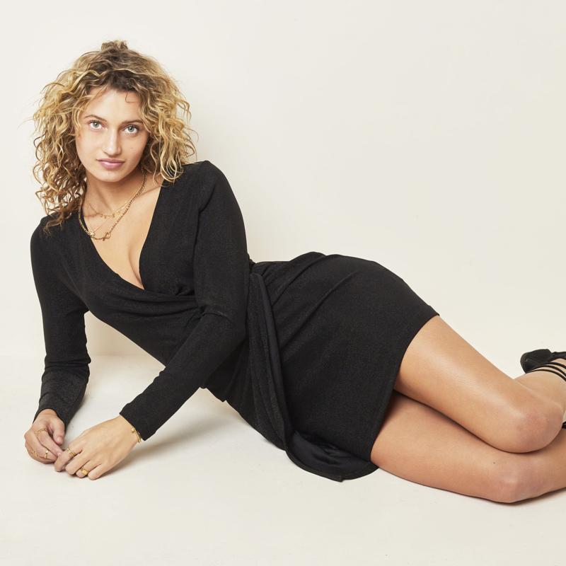 Dress Wrapped Up, zwart kleedje sparkle