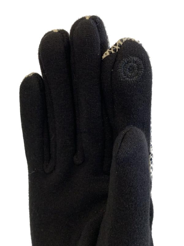 Daim look-a-like gloves zwart-wit