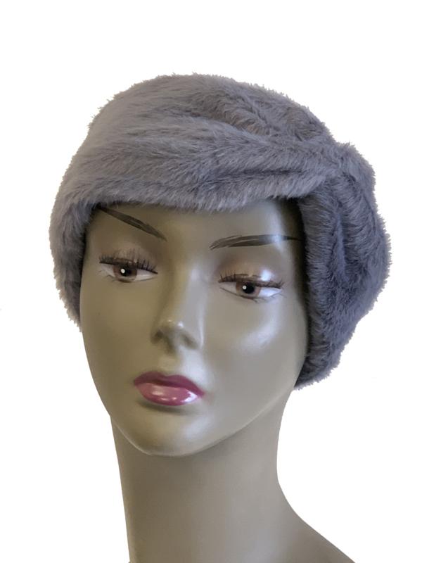 Haarband imitatiebont donkergrijs