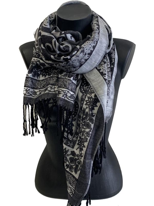 Malse warme sjaal met barok design, zwart