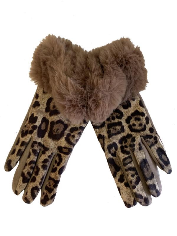 Daim look-a-like met imitatiebont, leopard taupe