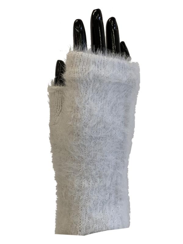Handschoenen zonder vingers, glinster wit
