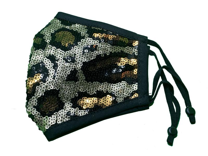 Leopard zwart + verstelbaar neusbeen & oorbandjes