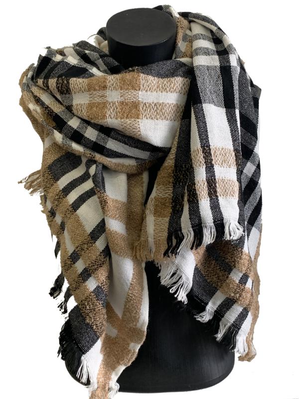 Malse, warme sjaal zwart, bruin, wit