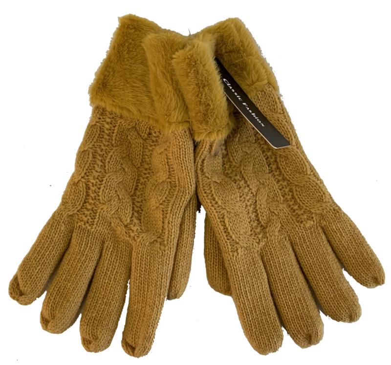 Dikke handschoenen gevoerd, oker/mosterd