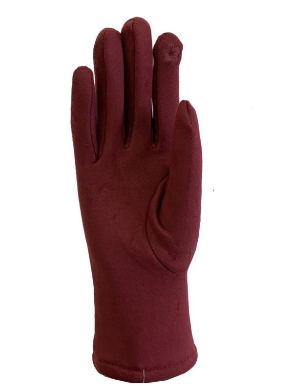 Daim look-a-like gloves bordeaux