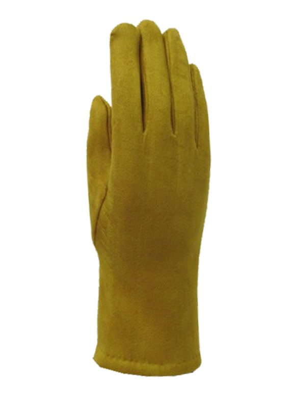 Daim look-a-like gloves oker/ mosterd
