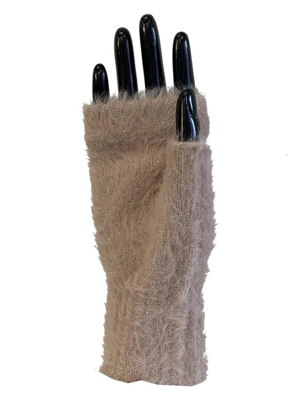 Handschoenen zonder vingers, glinster roze