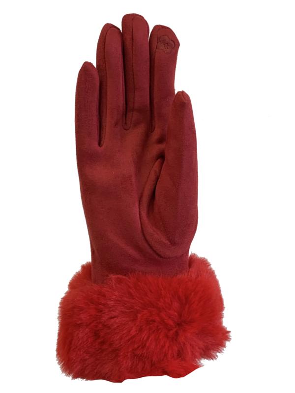 Daim look-a-like met imitatiebont, rood