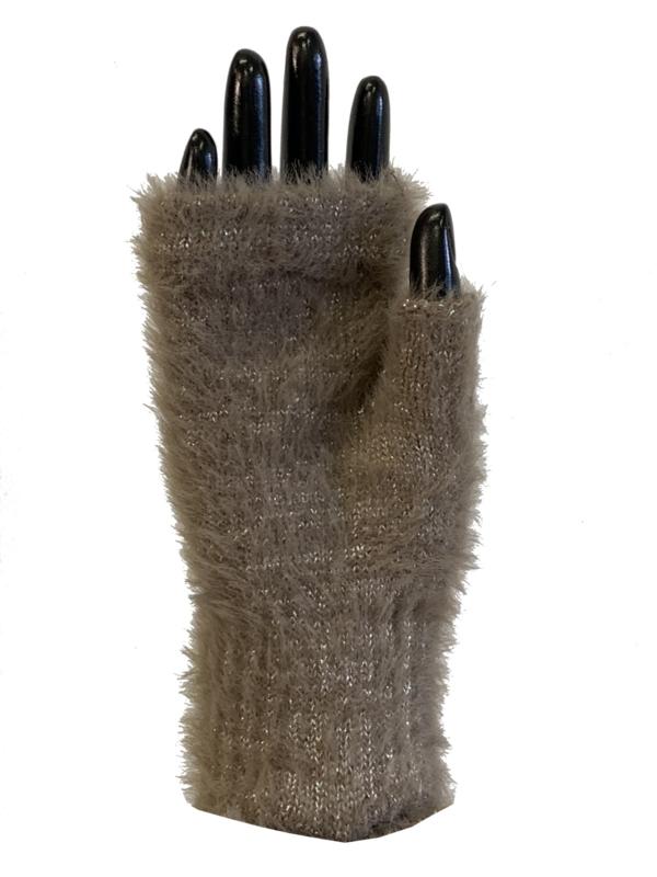 Handschoenen zonder vingers, glinster taupe