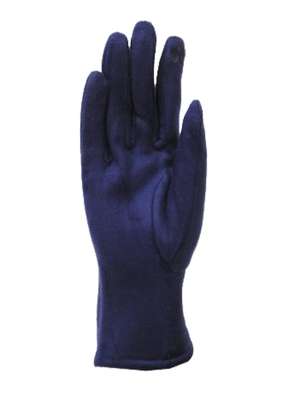 Daim look-a-like gloves blue