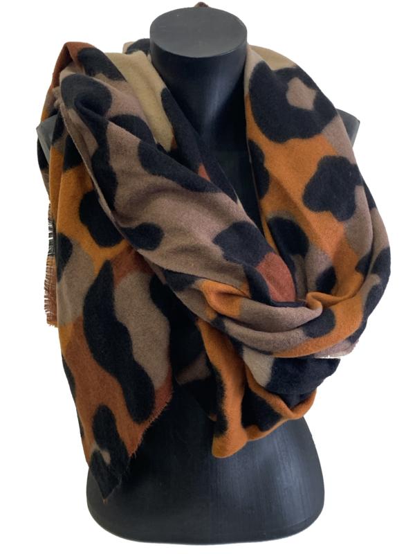 Malse sjaal met dierenprint, zwart/taupe/brick
