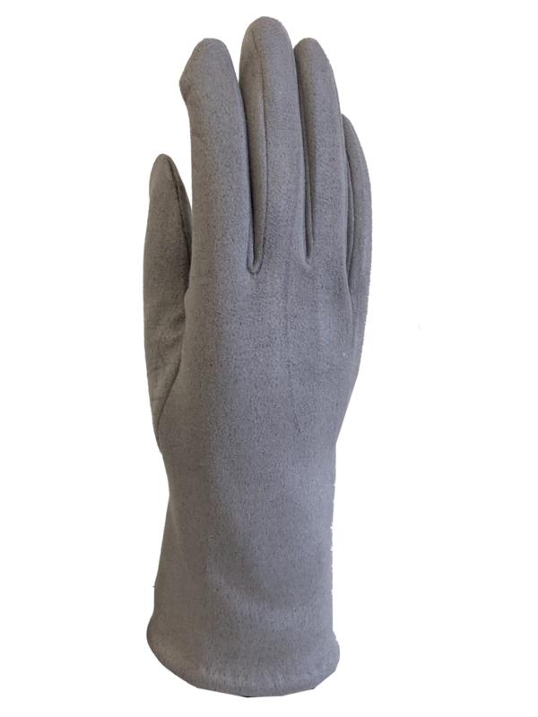 Daim look-a-like gloves lichtgrijs