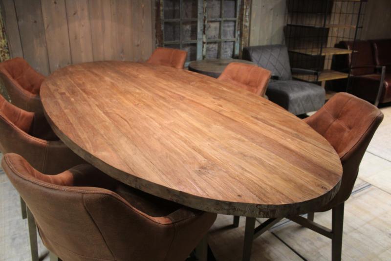 Teakhouten ovale tafelblad