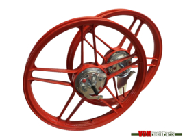16/17 Inch Puch Maxi 5 star Alloy Cast Wheels set complete (Powdercoated red)