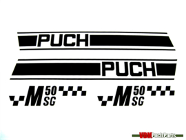 Sticker set zwart/wit Puch M50 SG