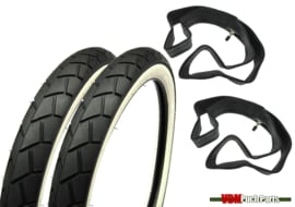 17 inch 2.25 Sava/Mitas MC11 Tyre Semislick set (White wall)