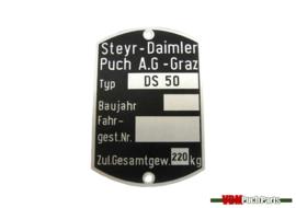 Typenschild Puch DS50