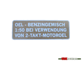 Puch benzine mix sticker (Wit Duitse versie)