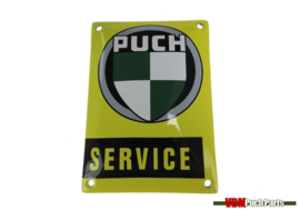 Schild Puch Service Gelb (14X10cm)