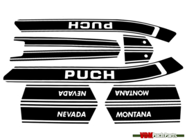 Sticker set zwart/wit Puch Nevada