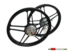 16/17 Inch Puch Maxi 5 star Alloy Cast Wheels set complete (Powdercoated black)
