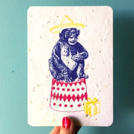 Happy Chimp Postcard - set van 4 kaarten met enveloppen