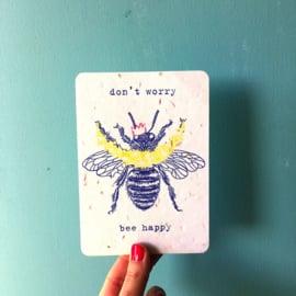 Don't Worry postcard - set van 4 kaarten met enveloppen