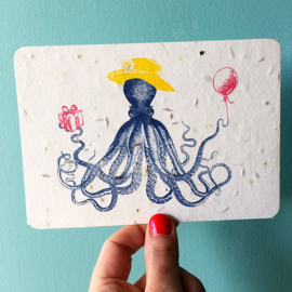 Tentacle Terrence Postcard - set van 4 kaarten met enveloppen