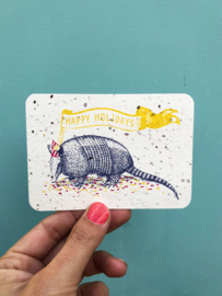 Holiday Armadillo notecards - set of 8 cards with envelopes