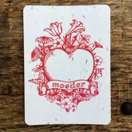 Moeder postcard - set van 4 kaarten met enveloppen