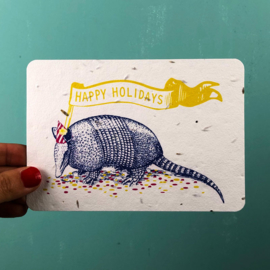 Holiday Armadillo - set of 4 post cards with envelopes