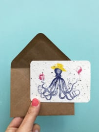Tentacle Terrence notecards - set van 8 kaarten met enveloppen