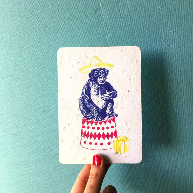 Happy Chimp - set van 4 kaarten met enveloppen