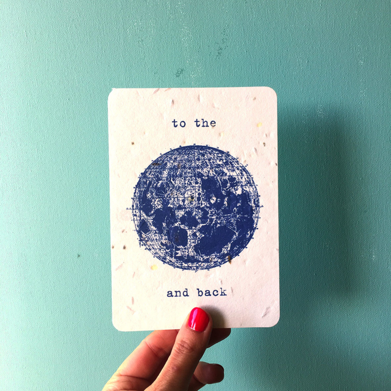 To the Moon Postcard - set van 4 kaarten met enveloppen