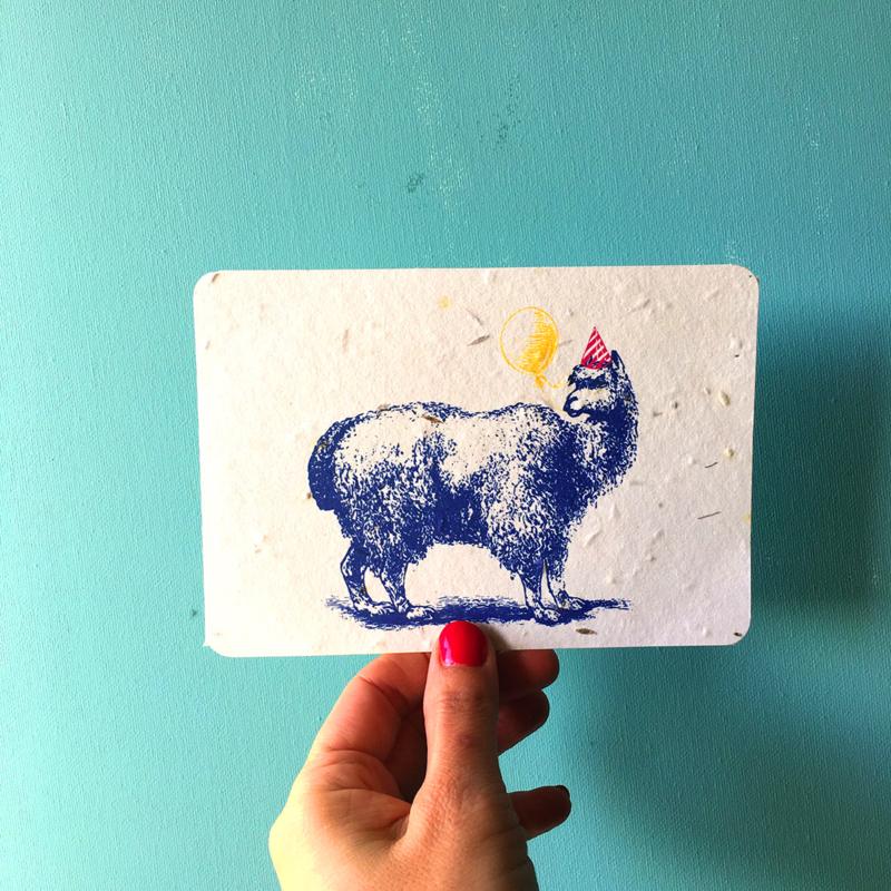 Furry Friend Postcard - set van 4 kaarten met enveloppen