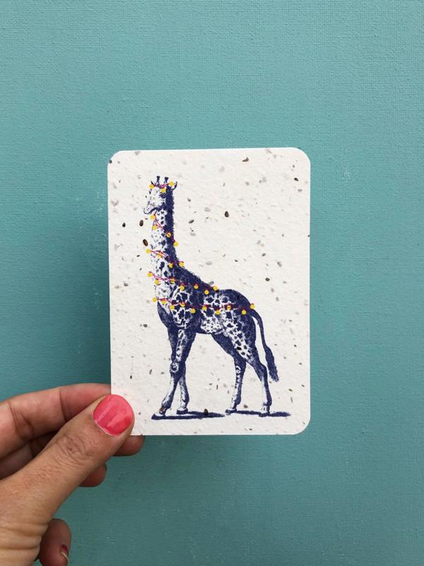 Festive Giraffe notecards - set van 8 kaarten met enveloppen