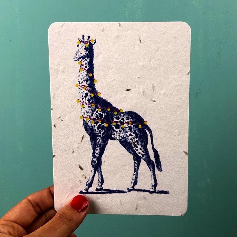 Festive Giraffe Postcard - set van 4 kaarten met enveloppen